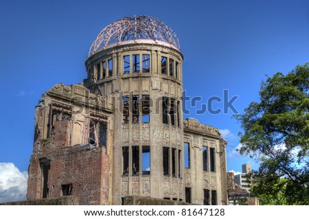 The Atomic Dome was the former Hiroshima Industrial Promotion Hall, destroyed by the first Atomic bomb in war on August 16, 1945 in Hiroshima, Japan.