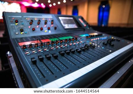 The audio equipment, control panel of digital studio mixer.