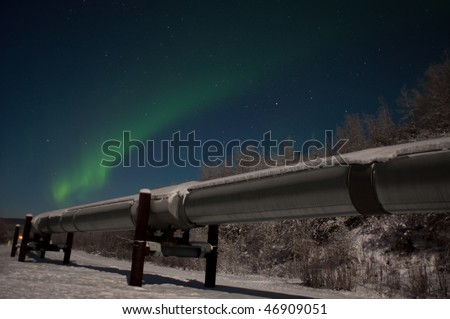 The Aurora, also known as the northern lights, intensified right over the Pipeline. The temperature was 34 degrees below zero. Early morning hours on January 3, 2010.