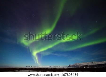 The aurora borealis or the northern lights or Northern light at Skaftafell Iceland