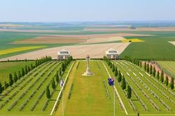 the australian cemetery of the fisrt worldwar at villers bretonneux in somme, france.