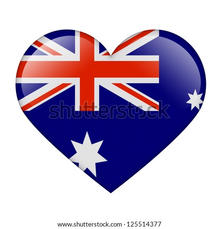 The Australian flag in the form of a glossy heart