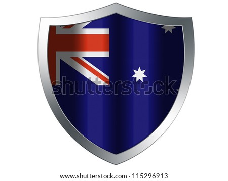 The Australian flag painted on  protection shield