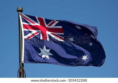 The Australian Flag with blue sky background