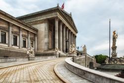 The Austrian Parliament Building in Vienna, Austria. Austrian Parliament building is located on Ringstrasse in Innere Stadt, near Hofburg Palace, Wien.
