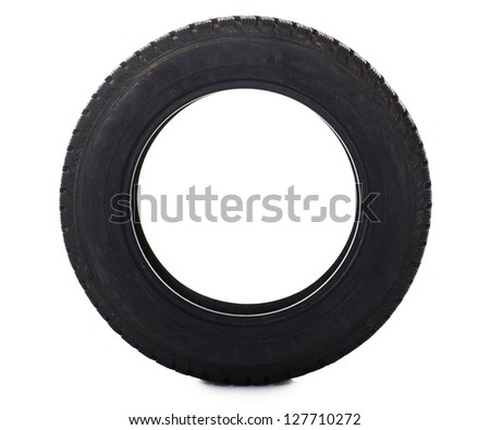 The automobile tire isolated on white background