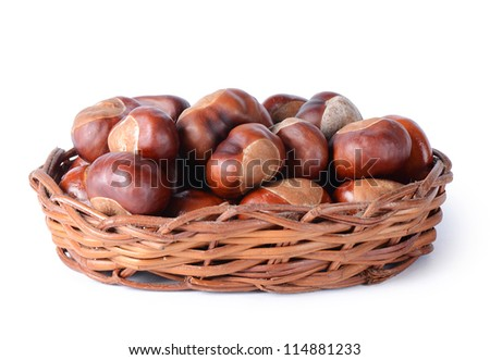 The autumn chestnuts isolated on white background