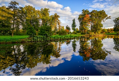 The autumn foliage of the trees is reflected in the lake. Autumn lake view. Autumn lake reflection