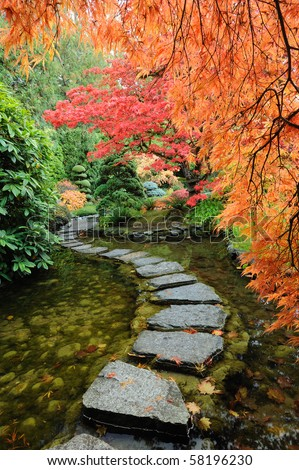 The autumnal look of the japanese garden inside the famous historic butchart gardens (built in 1903), vancouver island, british columbia, canada