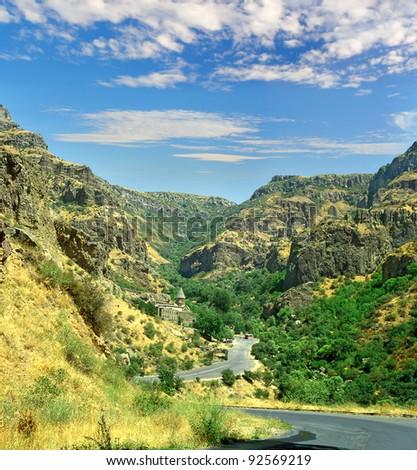 The Azat Valley, Kotaik region - UNESCO World Heritage Site, Armenian medieval architecture, The monastery of Geghard, Armenia