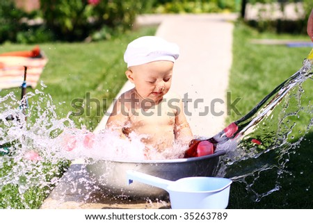 The baby bathes