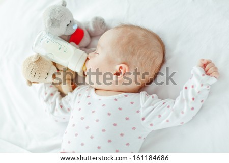 The baby eats