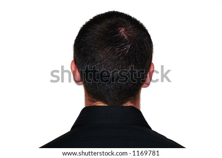 the back of a man's head, wearing black shirt