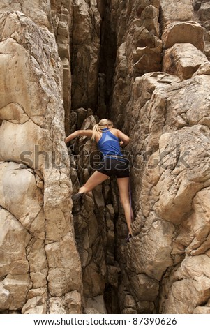 The back of a woman rock climbing up a mountain.