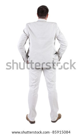 The back of businessman  looks ahead. rear view. Isolated over white .