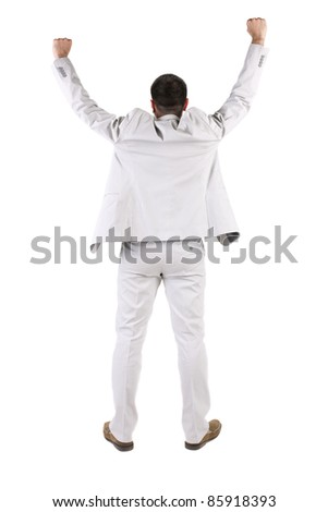 The back of businessman thumbs up. rear view. Isolated over white .