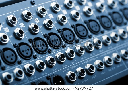 The back panel of a sound mixer