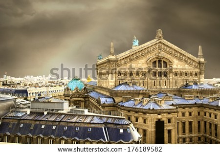The back view of the Opera house in Paris with a dramatic sky background