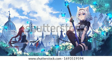 the background of beautiful anime girl shaped cats