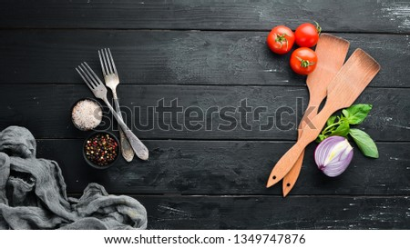 The background of cooking. Cutlery and kitchen board. Top view. Free space for your text. Rustic style. Stock photo ©