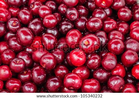 The background of red cherry fruit. Photo Close-up
