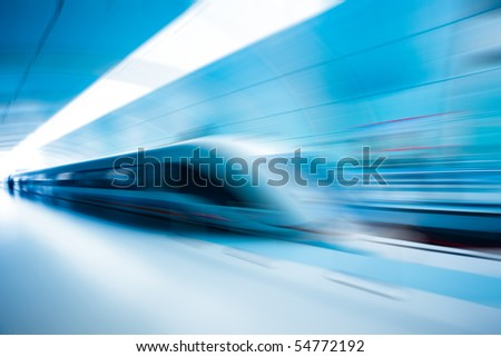 the background of the high-speed train with motion blur outdoor. #54772192