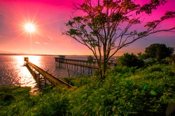 The background of the morning light, the wallpaper of the Twilight sky, the lake or the sea, is a natural beauty, seen between travel.