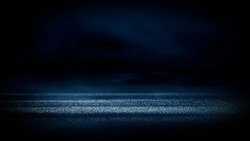 The background of wet asphalt, the reflection of the night lights of the city, neon light, smoke. Abstract empty dark blue scene