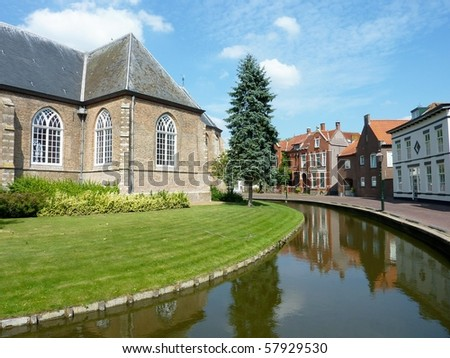 The backside of the church of Nieuwe Tonge in the Netehrlands
