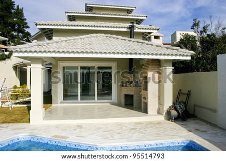 The backyard of a fancy house - stock photo