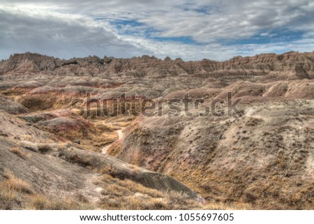 The Badlands are an alien looking landscape in western South Dakota. #1055697605