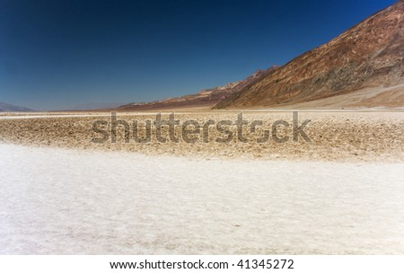 The Badwater salt pan of Death Valley