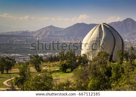 The Bahai Temple and the panorama of Santiago