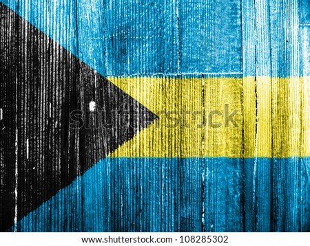 The Bahamas flag painted on wooden pad