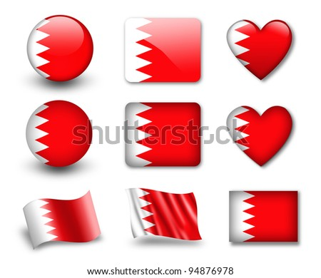 The Bahraini flag - set of icons and flags. glossy and matte on a white background.