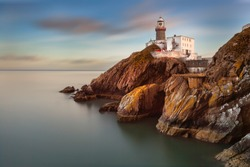 The Baily Lighthouse, Howth. co. Dublin,  Baily Lighthouse on Howth cliffs,  View of the Baily Lighthouse from the cliff