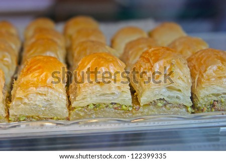 The baklava (a dessert made of thin pastry, nuts, and honey)