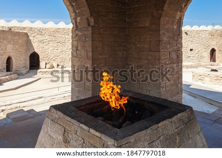 The Baku Ateshgah or Fire Temple of Baku is a temple in Surakhani near Baku, Azerbaijan. Based on Persian and Indian inscriptions, temple was used as a Hindu and Zoroastrian place of worship.