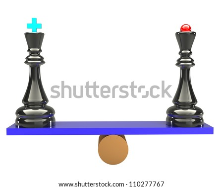 The balance of the king and queen of the concept of chess on white background 3d