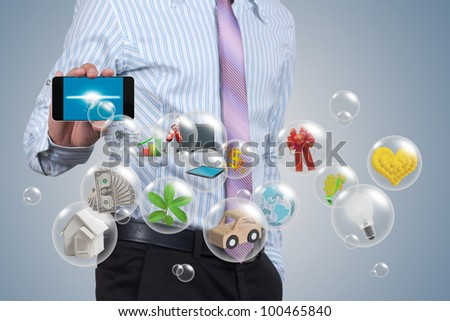 The ball in handheld in the hands businessman