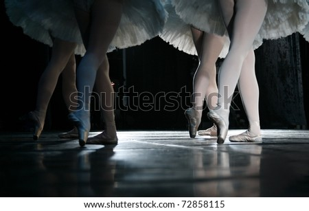 The ballerina during dance execution.