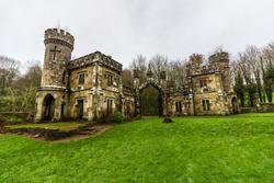 The Ballysaggartmore Towers were intended to be used as the entrance gates to a large estate outside of Lismore, County Waterford, Ireland