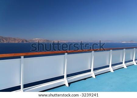 The balustrade of a cruise ship
