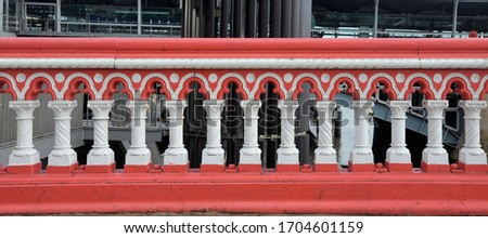 The balustrade of Blackfriars Bridge, a road and foot crossing over the River Thames, designed by Joseph Cubitt and opened in 1869 in London.