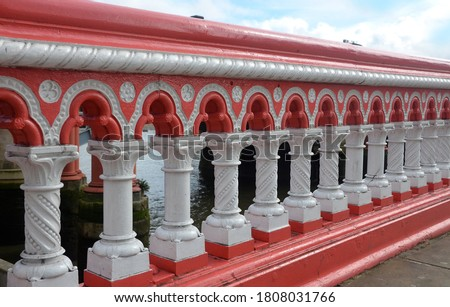 The balustrade of Blackfriars Bridge, a road and foot crossing over the River Thames, designed by Joseph Cubitt and opened in 1869, in London.