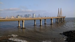 The Bandra Worli sea link. A bridge connecting 2 major areas in downtown Mumbai where if you look at one side, you'd see the cityline and on the other side, an unending Ocean