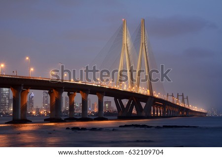 The Bandra-Worli Sea Link, officially called Rajiv Gandhi Sea Link, is a cable-stayed bridge that links Bandra with Worli in Mumbai, India. #632109704