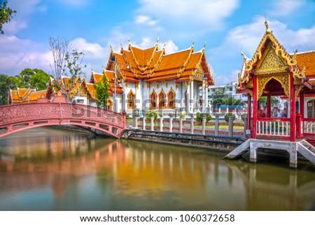 The Bangkok Marble Temple, Wat Benchamabophit Dusit wanaram.  Bangkok, Thailandia.