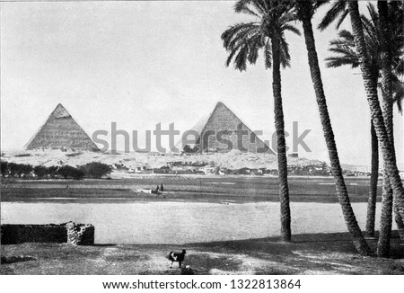 The banks of the Nile in Lower Egypt, vintage engraved illustration. From the Universe and Humanity, 1910.