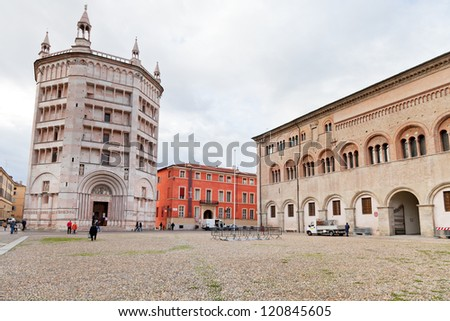 the Baptistery and Bishop's Palace on Piazza del Duomo, Parma, Italy